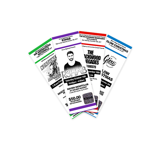 Custom printed event tickets, wristbands & lanyards