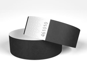 black tyvek wristbands